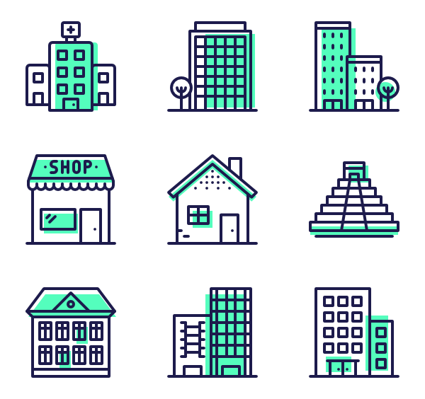 Shop vector city. Green icon packs