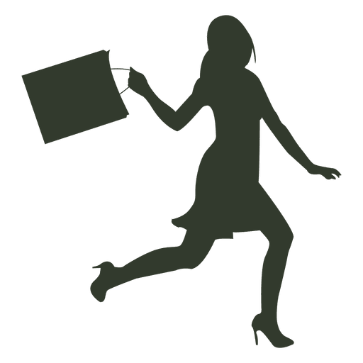 Shop vector silhouette. Woman shopping bags runs
