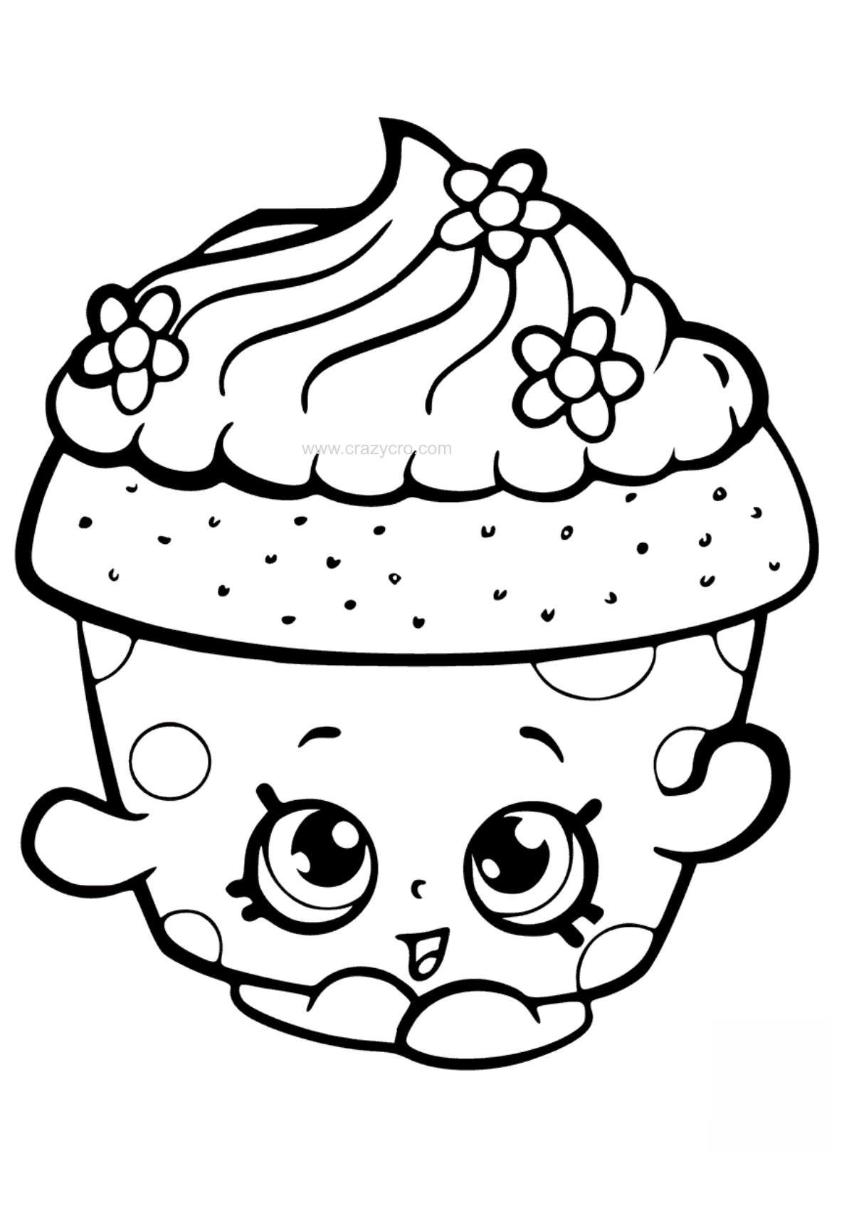 Cupcake petal coloring page. Shopkin drawing black and white graphic freeuse download