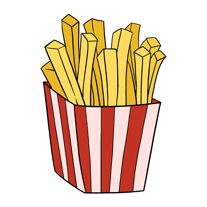 Chip drawing fried food. How to draw french