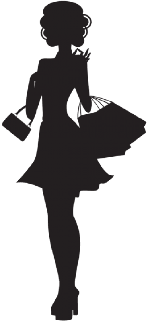 Shopping clipart black woman. Silhouette png free images