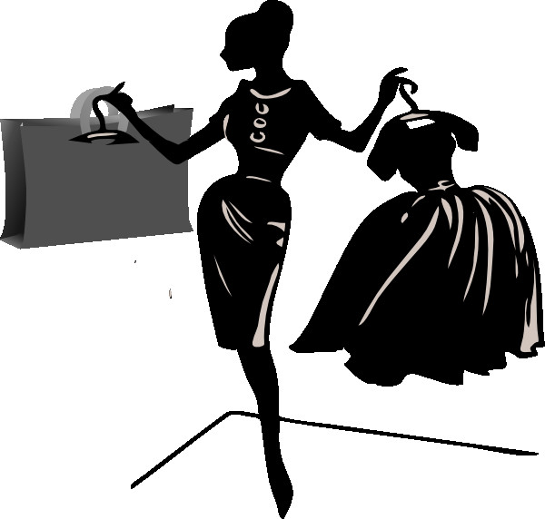 Shopping clipart black woman. Best of and white