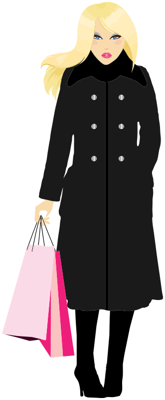 Shopping clipart boutique shopping. Blonde woman clothes png