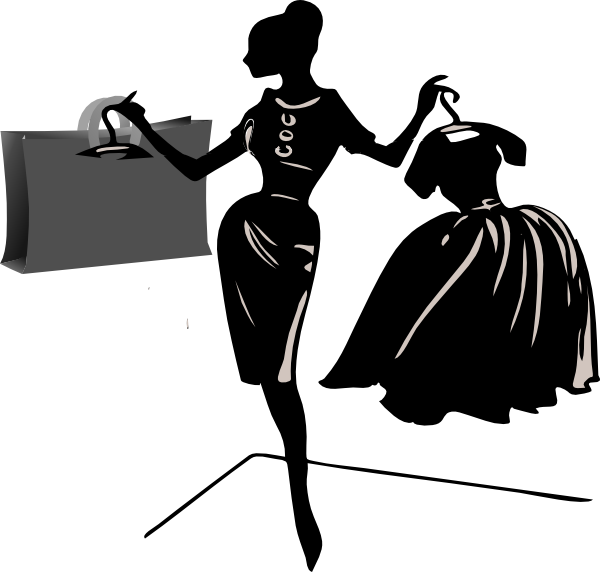 Fashionista drawing male. Diva shopping clipart