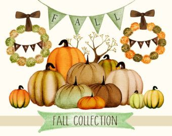 Shopping clipart thanksgiving. Fall watercolor pumpkins by