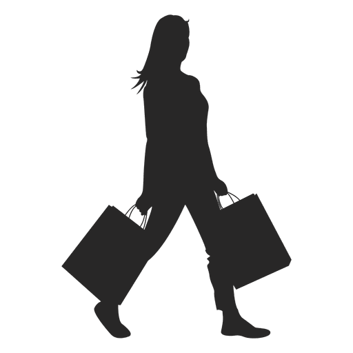 Walk vector family shopping. Girl silhouette transparent png