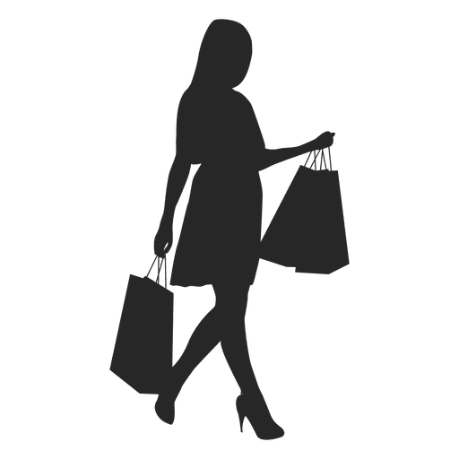 Shop vector silhouette. Girl shopping transparent png