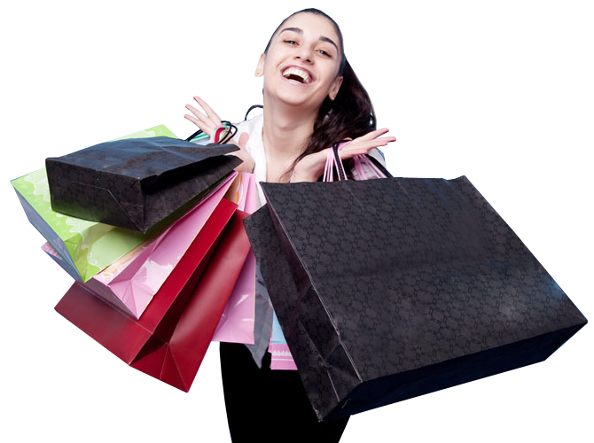 Girls transparent shopping. Girl with bags png