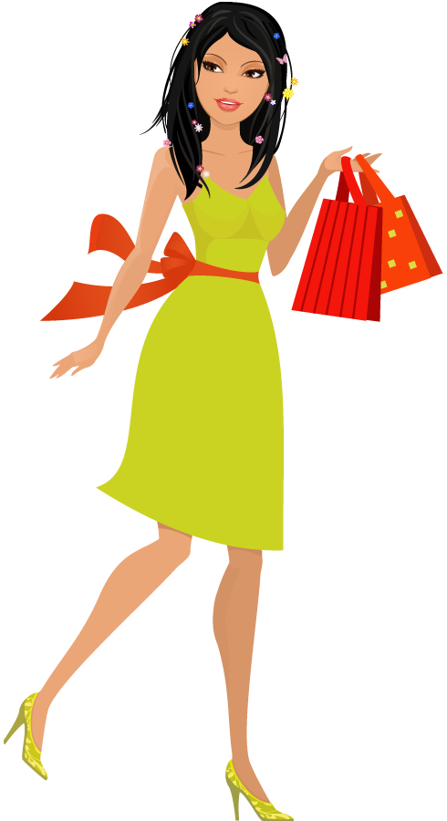Shopping transparent cartoon. Beautiful young woman with