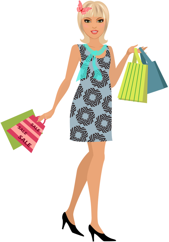 Shopping transparent cartoon. Young woman holding bags