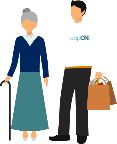 Shopping transparent cartoon person. Man assisting tappon