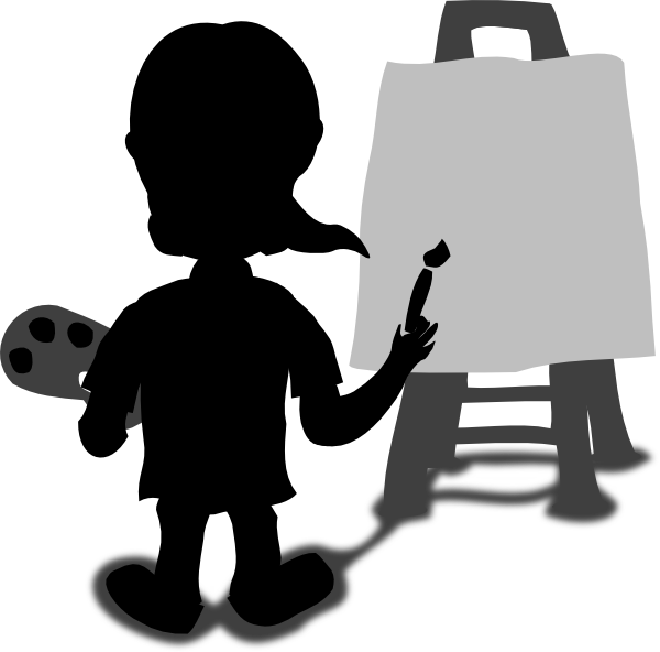 Character painting blank slate. Shopping transparent cartoon person svg black and white download
