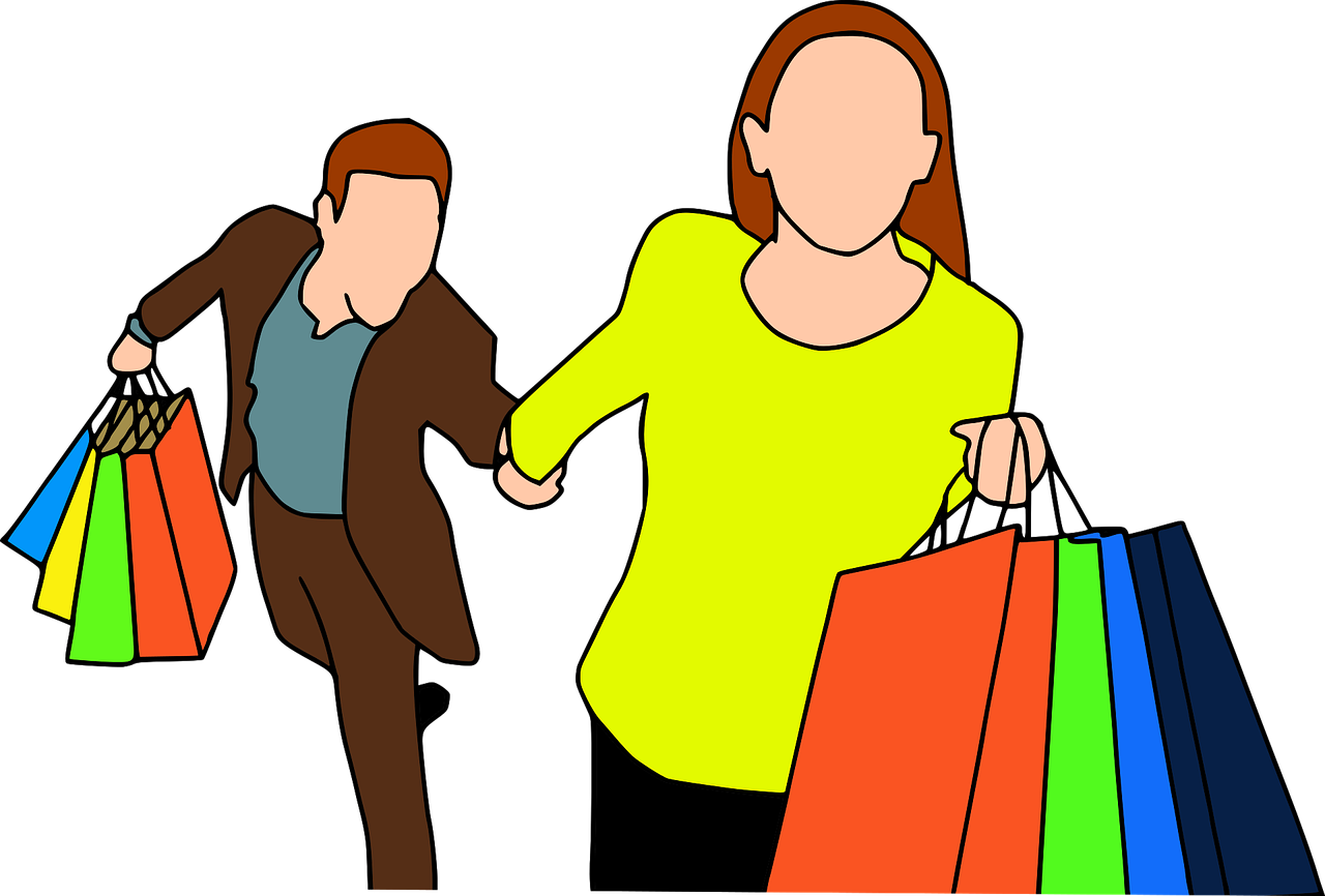 Shopping transparent cartoon person. Podcast how to spend
