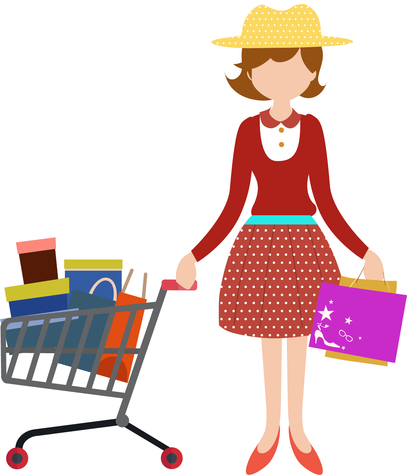 Shopping transparent cartoon person. Cart computer icons clip