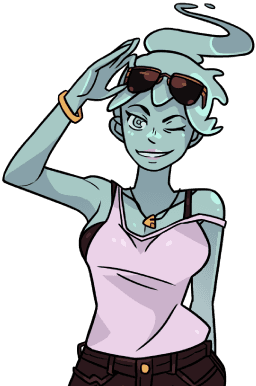 Shopping transparent cartoon person. Monster prom character polly