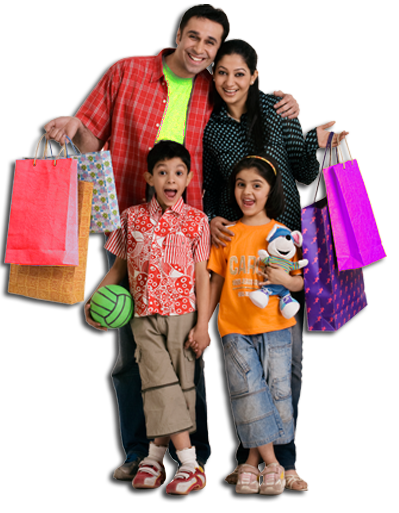 Shopping transparent family. The perfect experience