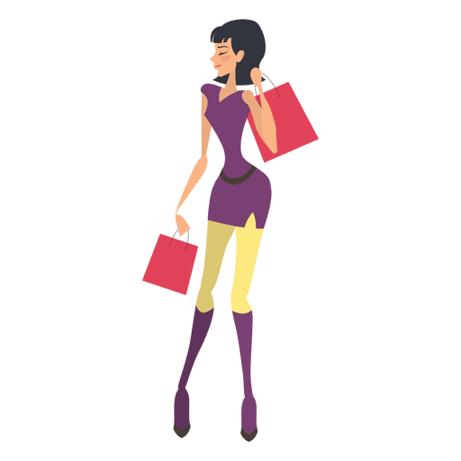 Shopping transparent girl png. Carrying bags svg vector