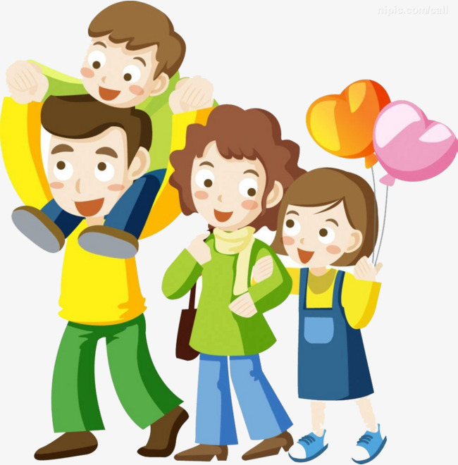 Short clipart 4 person family. Happy color balloon hair