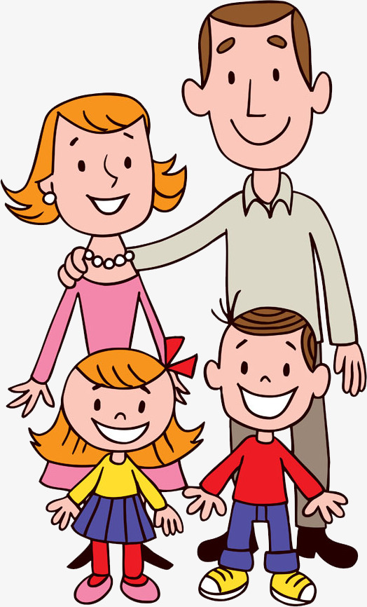 Short clipart 4 person family. A of four hair