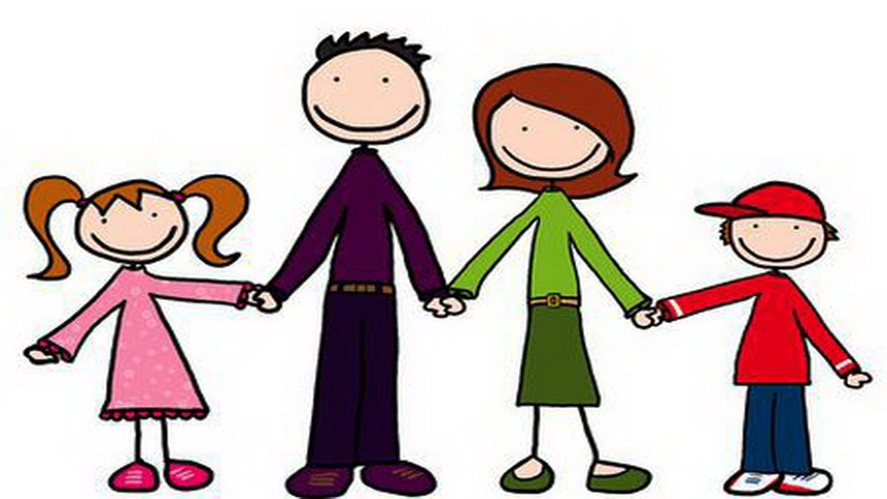 Short clipart 4 person family. My kids learning videos