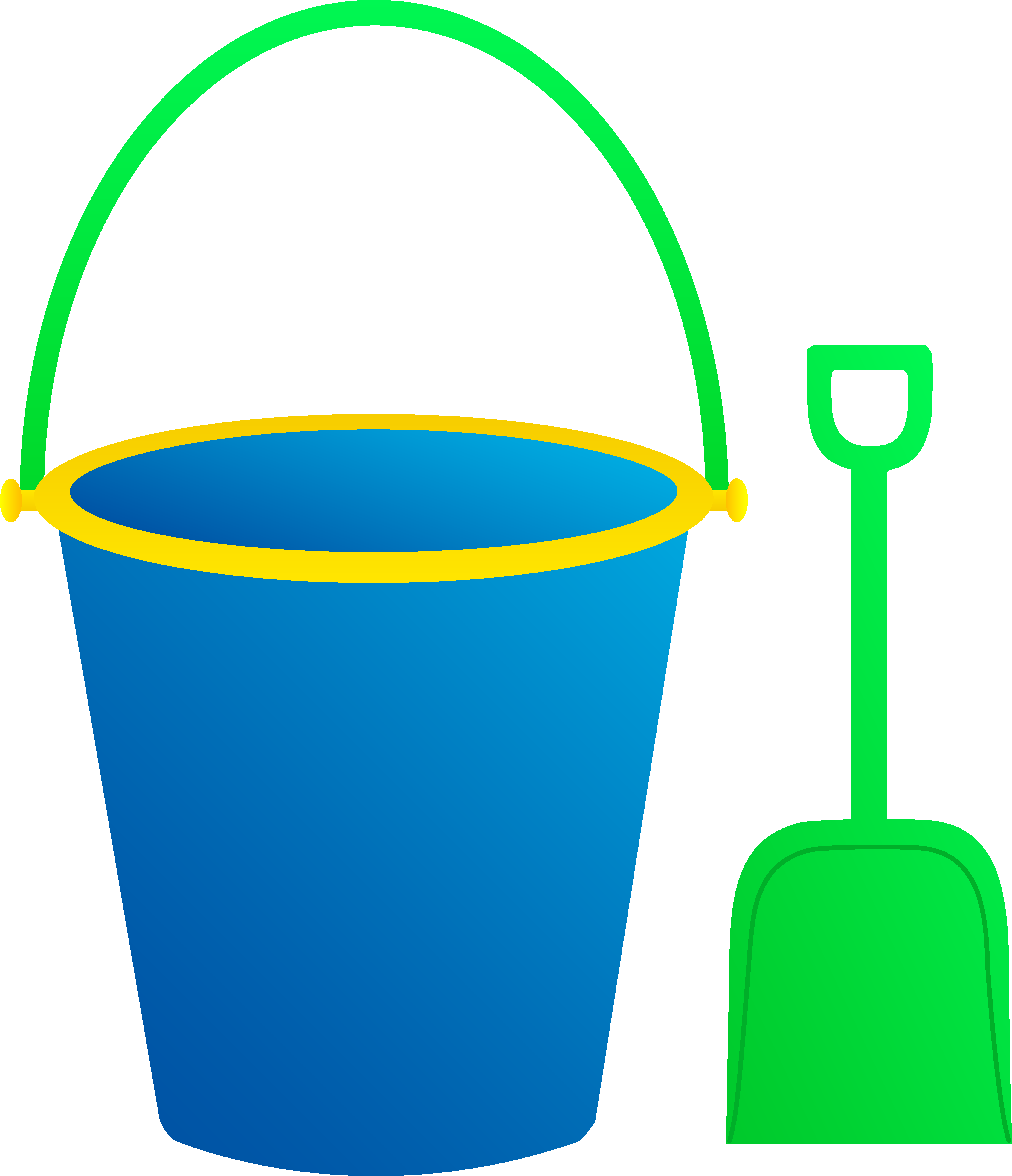 Shovel clipart blue bucket. And green free image