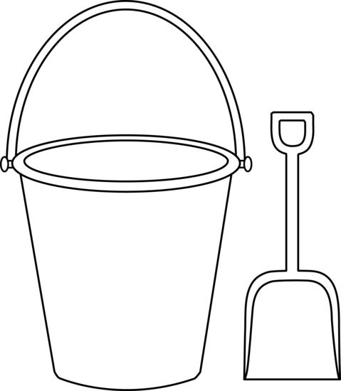 Shovel clipart sand pail. Pattern of a bucket