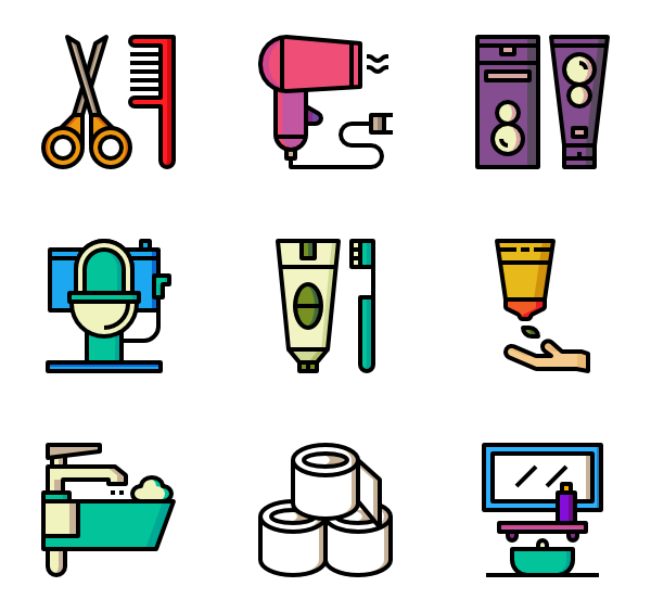 Shower vector bath. Icons free bathroom stuff