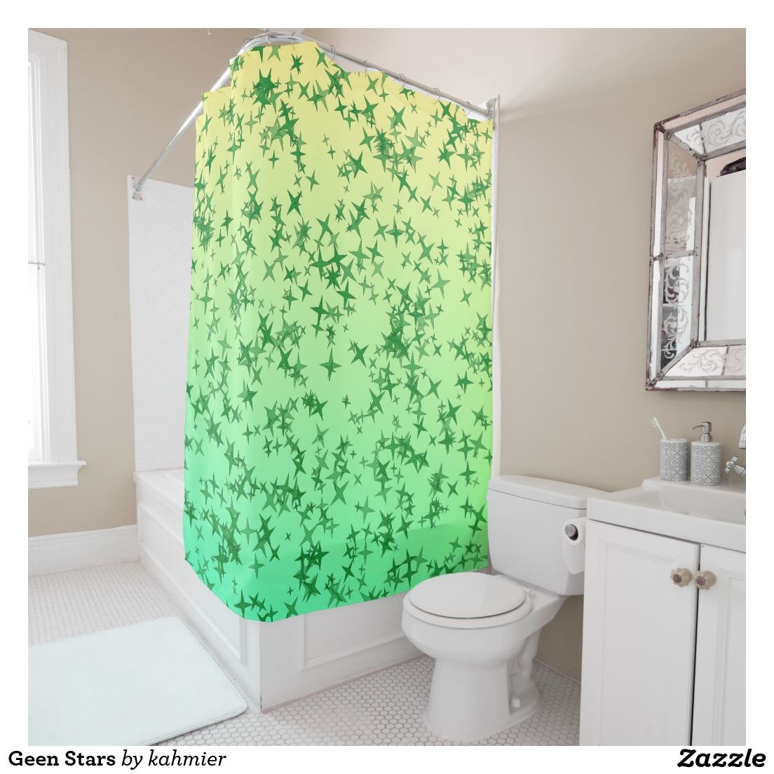 Showering clipart shower curtain. Green stars curtains and