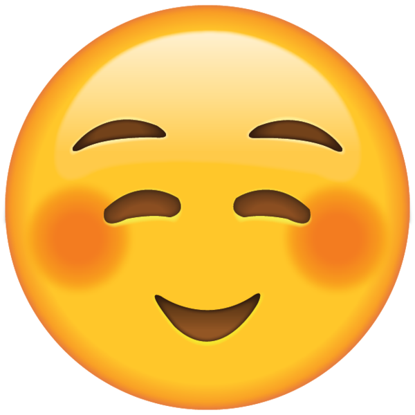 blushing smiley face text