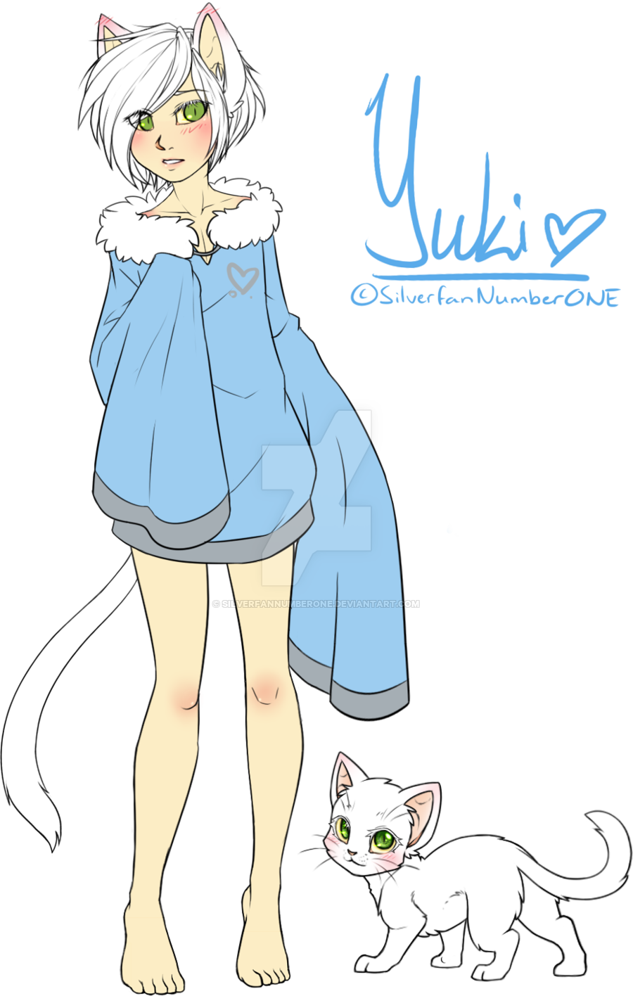Shy drawing base. Human neko boy yuki