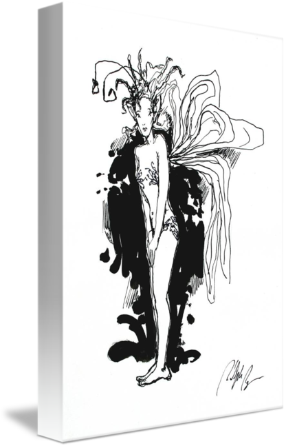 Shy drawing black and white. Ink by rudolph