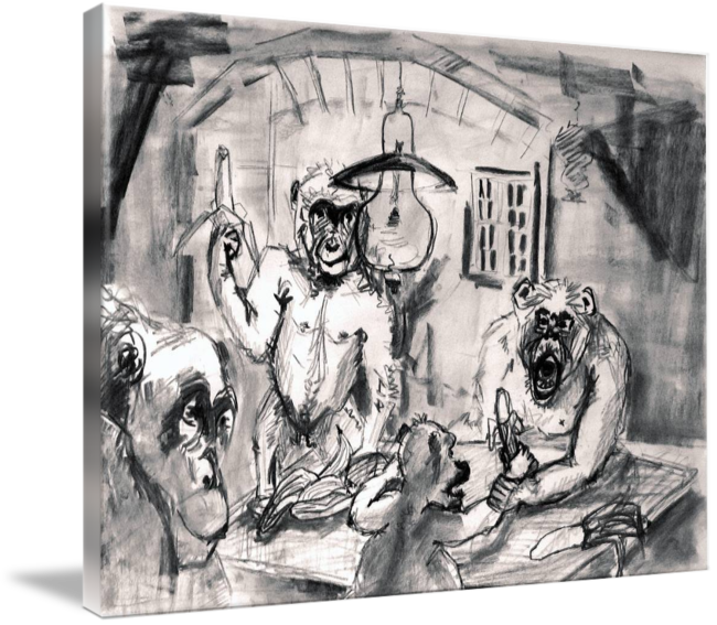 Shy drawing charcoal. The banana eaters sketch
