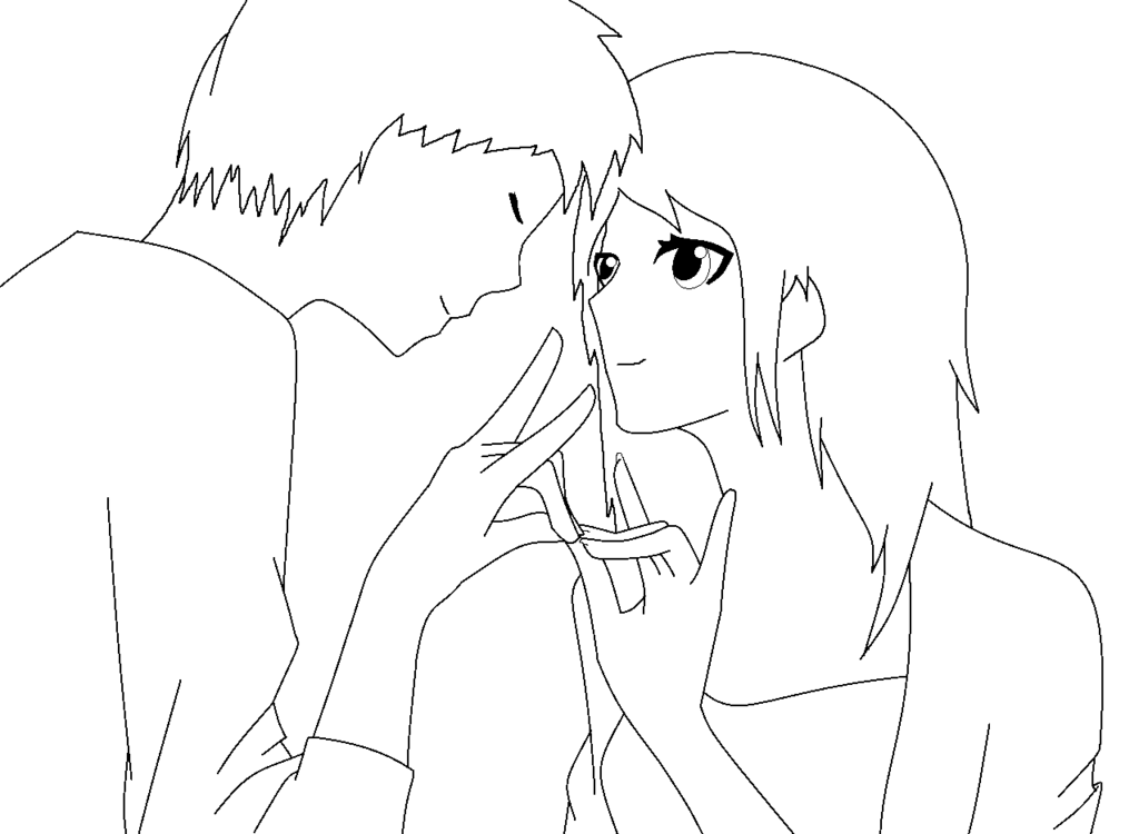 Shy drawing cute couple. Lineart poz for