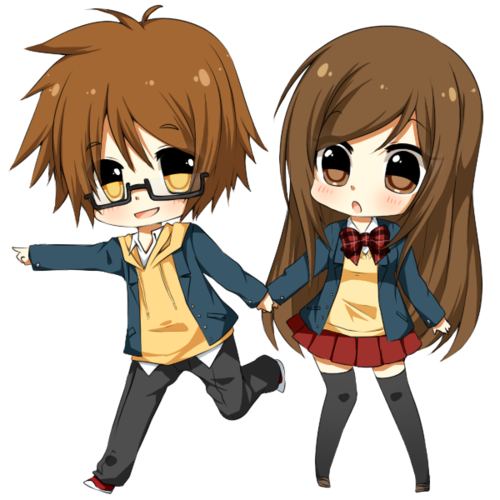 Siblings drawing cute christmas couple. Anime chibi couples pictures