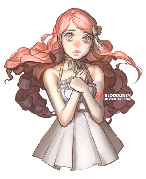 Shy drawing long hair. The one by bloodlinev
