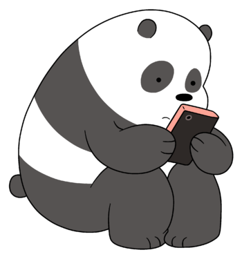 Shy drawing panda. Bear we bare bears