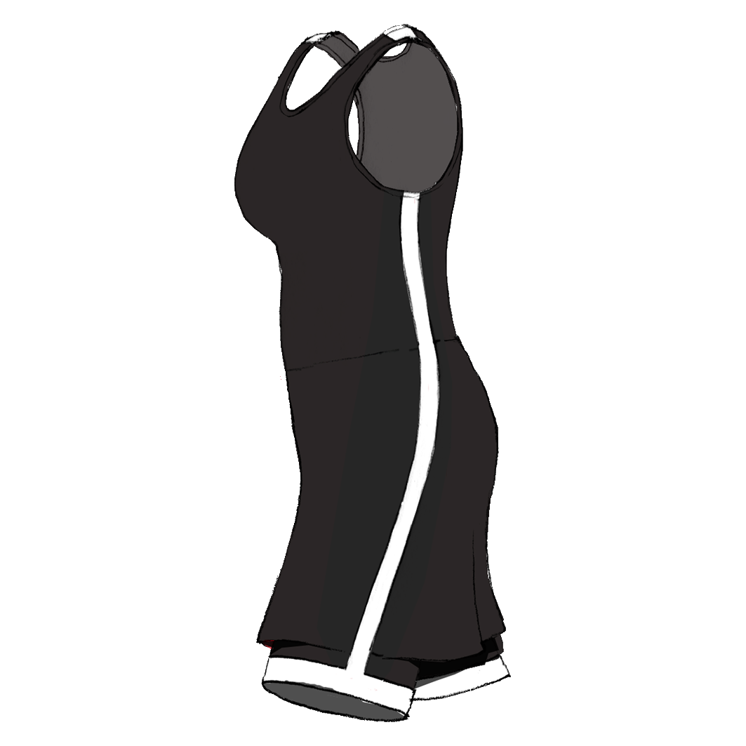 Side drawing dress. Lise rowing athletes own