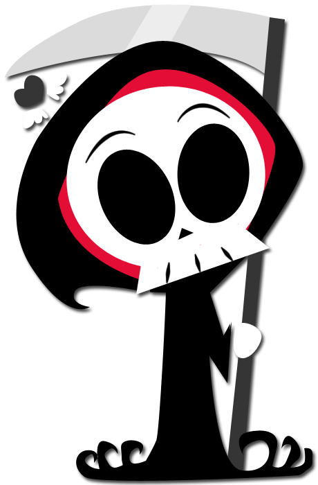 Side drawing grim reaper. Chibi fied by enigmatia