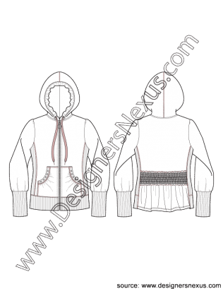 Side drawing hoodie. Jacket flat sketch v