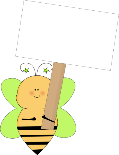 Sign clipart star. Green bee holding a