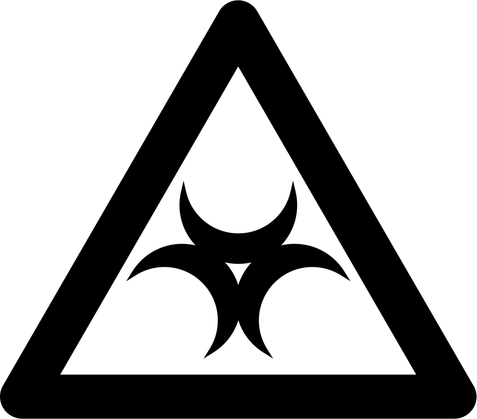 Outline vector triangle. Biohazard sign inside a