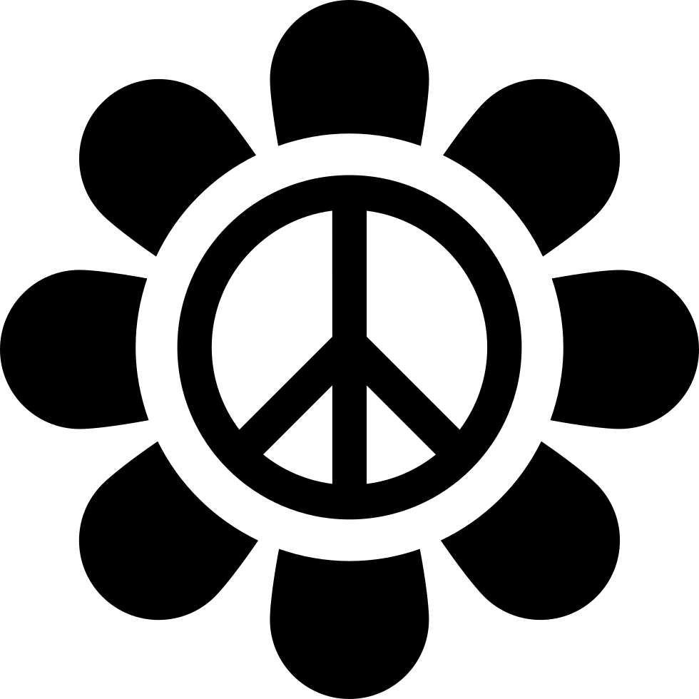 Sign svg peace. Flower with png icon
