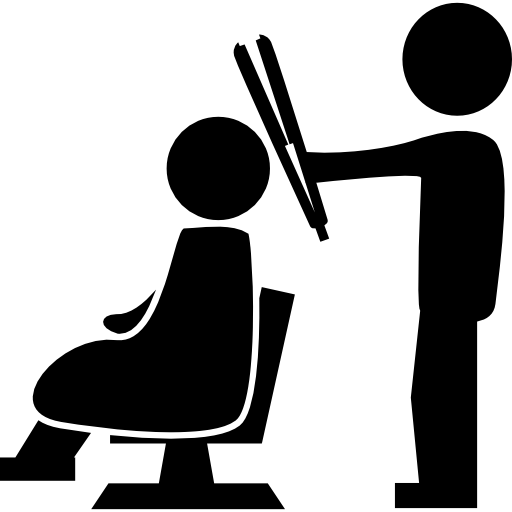 Vector composition barber. Hairdresser standing with a