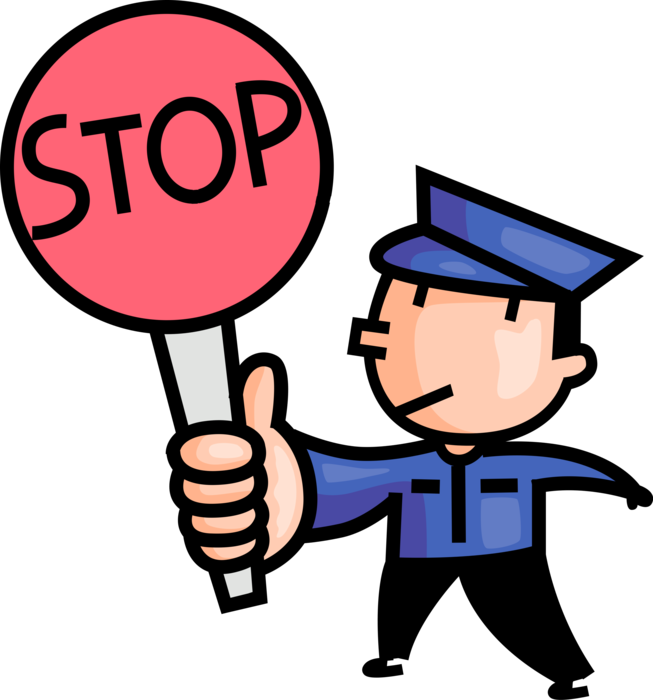 School crossing guard with. Stop vector illustration jpg freeuse library