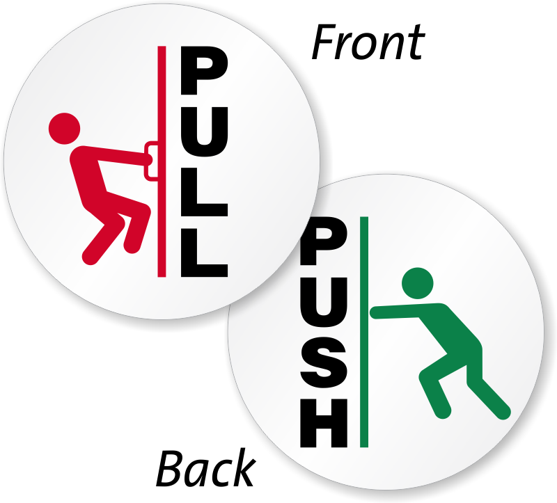 Signs vector now open sign. Push pull door and