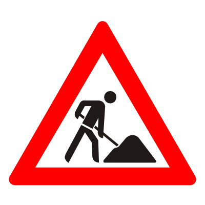 Signs vector work in progress. Road worker funf pandroid
