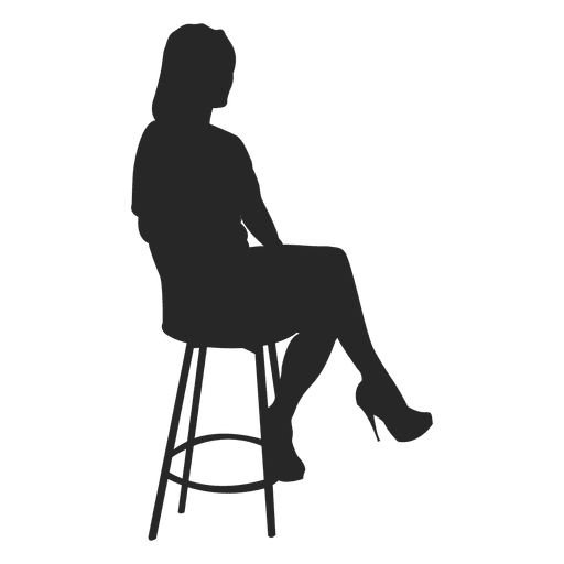 Silhouette bar png. Girl sitting on stool