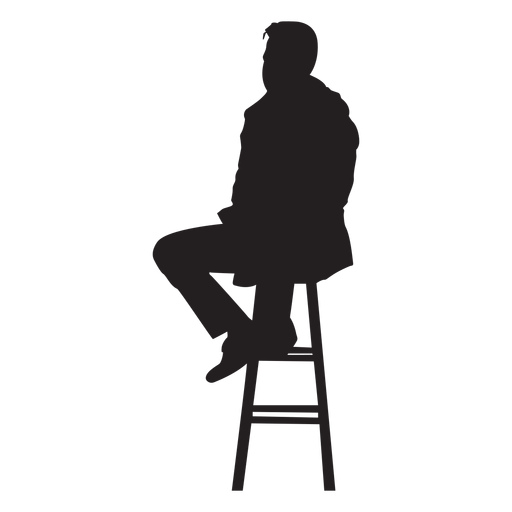 Silhouette bar png. Man sitting on stool