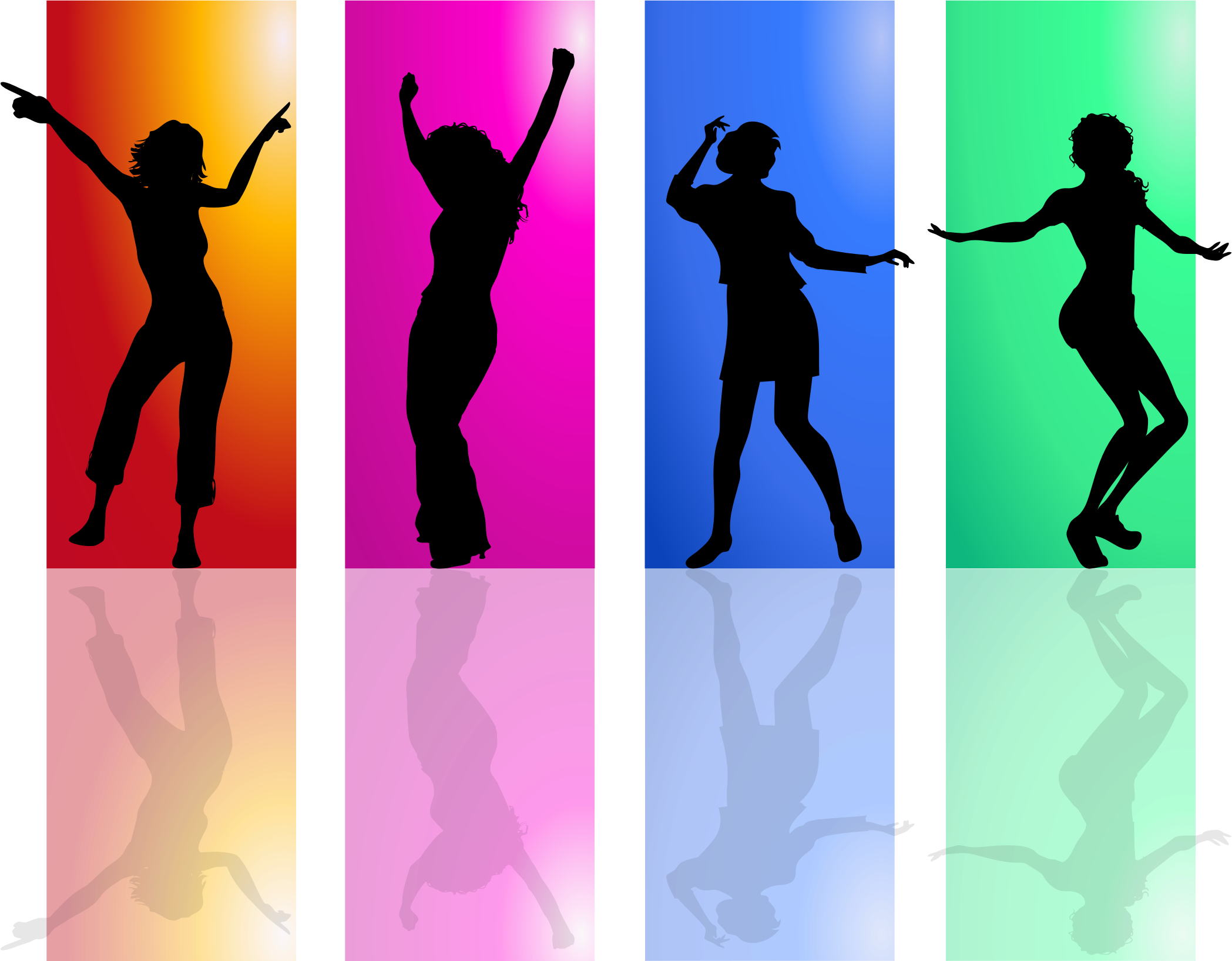 Silhouette dancing people png. Colorful women icons free