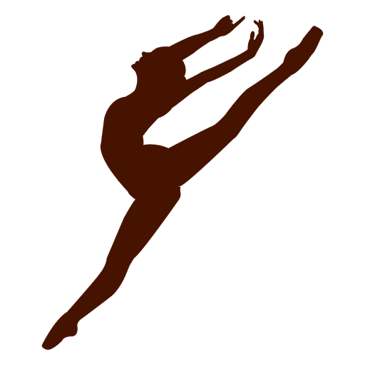 Dancer silhouette png. Ballet pose jumping transparent